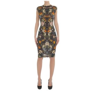ALEXANDER MCQUEEN, Pencil Dress, Floral Dragonfly Print Pencil Dress
