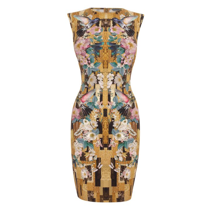 Alexander McQueen, Geometric Hummingbird Print Jersey Pencil-Dress
