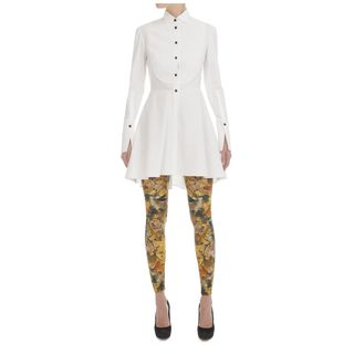 ALEXANDER MCQUEEN, Cocktail Dress, Piqué Bib Peplum Shirt-Dress