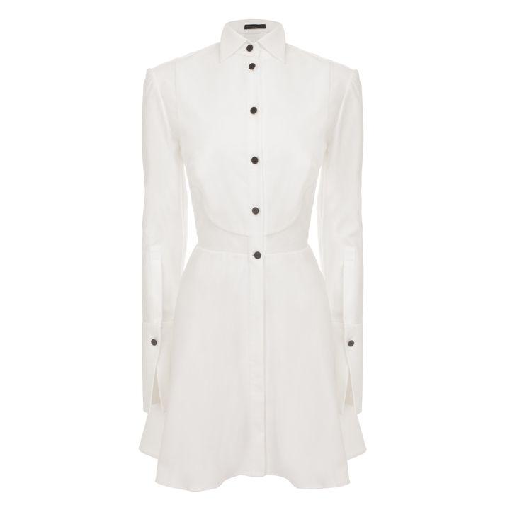 Alexander McQueen, Piqué Bib Peplum Shirt-Dress