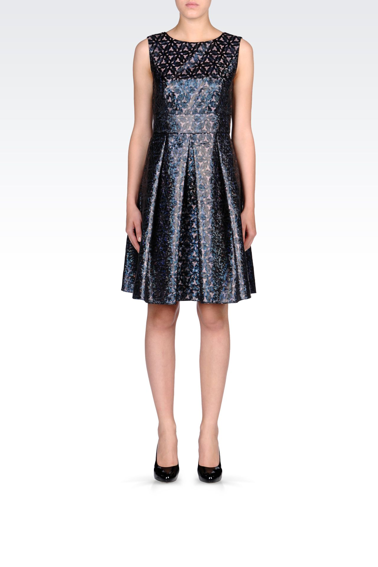 OPTICAL-PRINT LAMÉ DRESS: Short Dresses Women by Armani - 0
