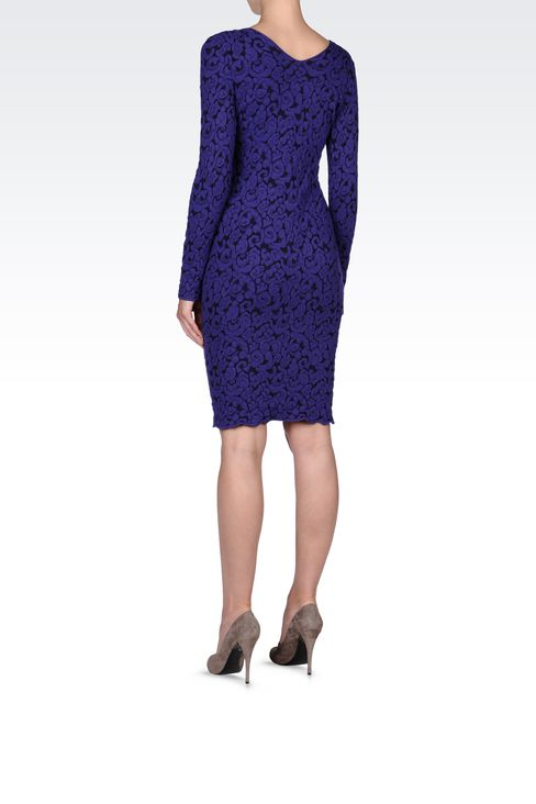 V NECK JACQUARD DRESS: Short Dresses Women by Armani - 3