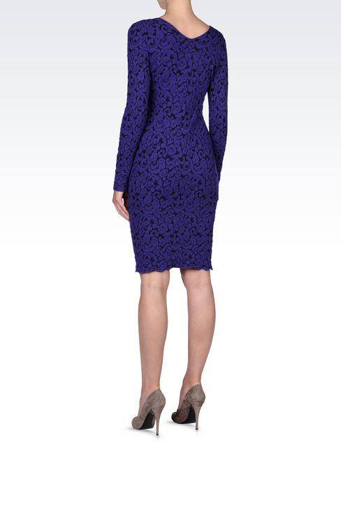 V NECK JACQUARD DRESS: Short Dresses Women by Armani - 3