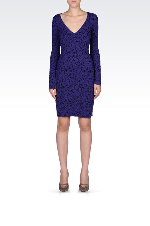 V NECK JACQUARD DRESS: Short Dresses Women by Armani - 1