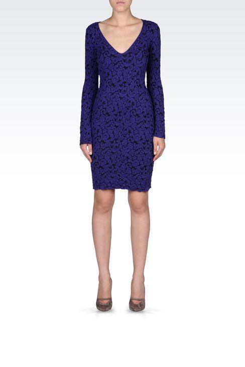 V NECK JACQUARD DRESS: Short Dresses Women by Armani - 1