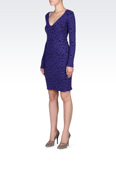 V NECK JACQUARD DRESS: Short Dresses Women by Armani - 2
