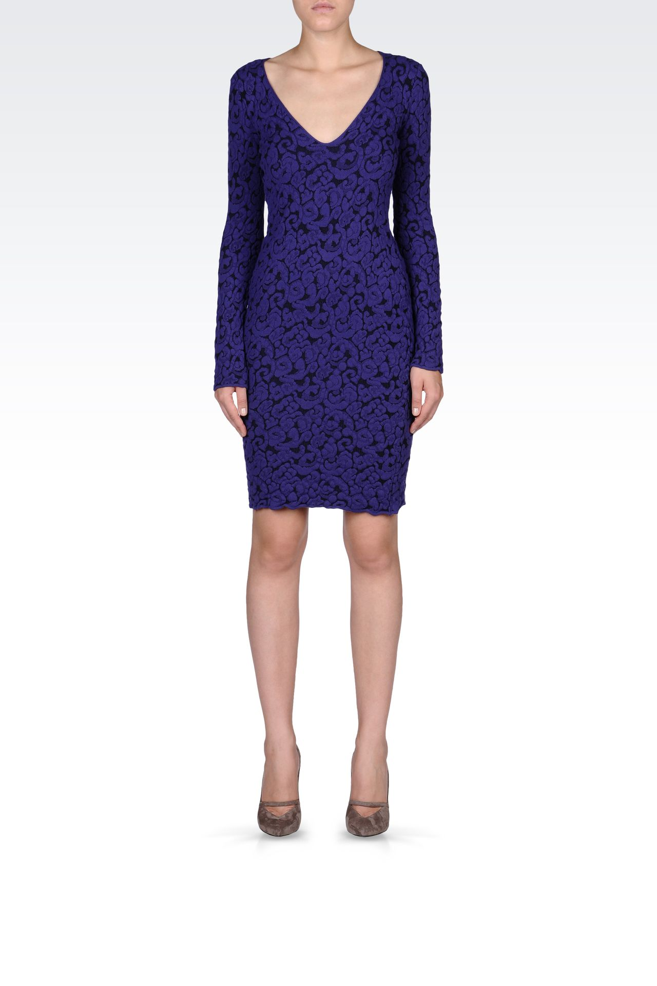 V NECK JACQUARD DRESS: Short Dresses Women by Armani - 0