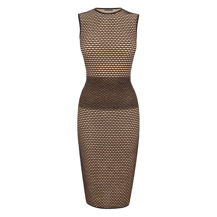 Alexander McQueen, 3D Wave Stripe Jacquard Knit Pencil Dress