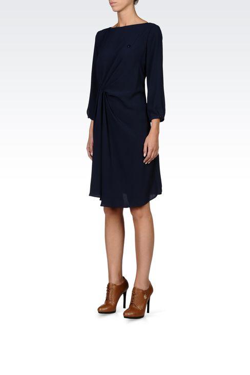 DRAPED CRÊPE SATIN DRESS: Short Dresses Women by Armani - 2