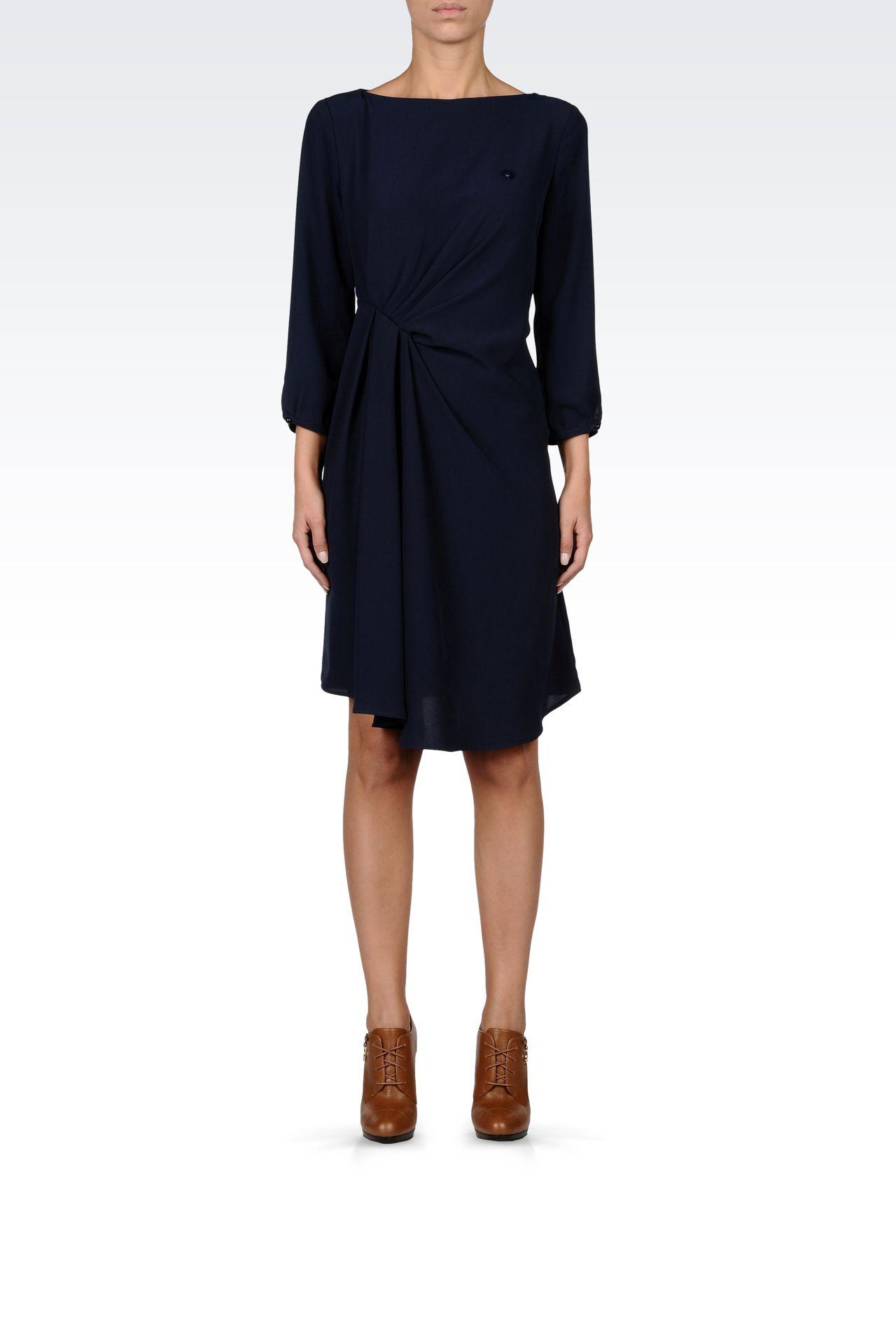 DRAPED CRÊPE SATIN DRESS: Short Dresses Women by Armani - 0