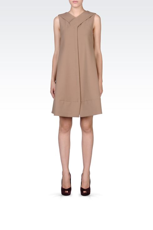 TRAPEZE DRESS WITH V NECK: Short Dresses Women by Armani - 1