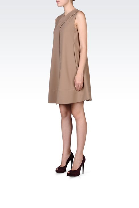 TRAPEZE DRESS WITH V NECK: Short Dresses Women by Armani - 2