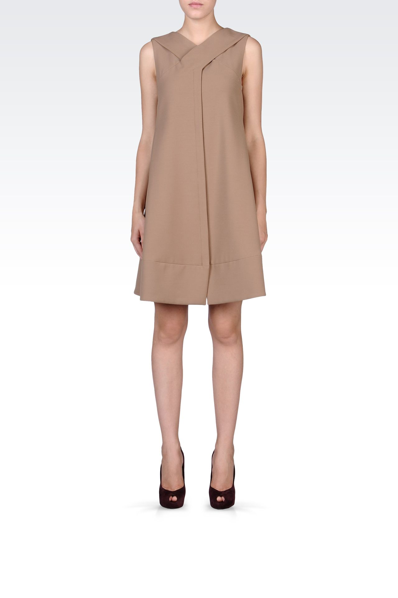 TRAPEZE DRESS WITH V NECK: Short Dresses Women by Armani - 0
