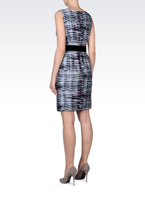 PRINTED SILK DRESS WITH BELT: Short Dresses Women by Armani - 3