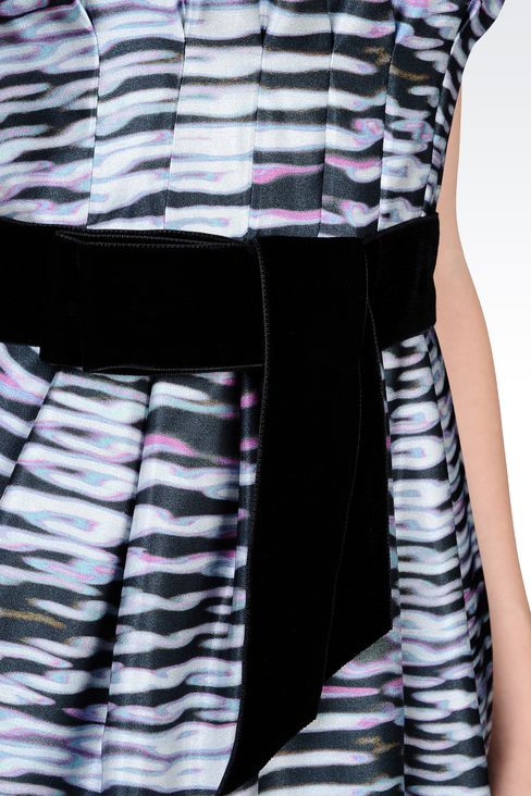 PRINTED SILK DRESS WITH BELT: Short Dresses Women by Armani - 4