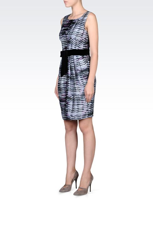 PRINTED SILK DRESS WITH BELT: Short Dresses Women by Armani - 2