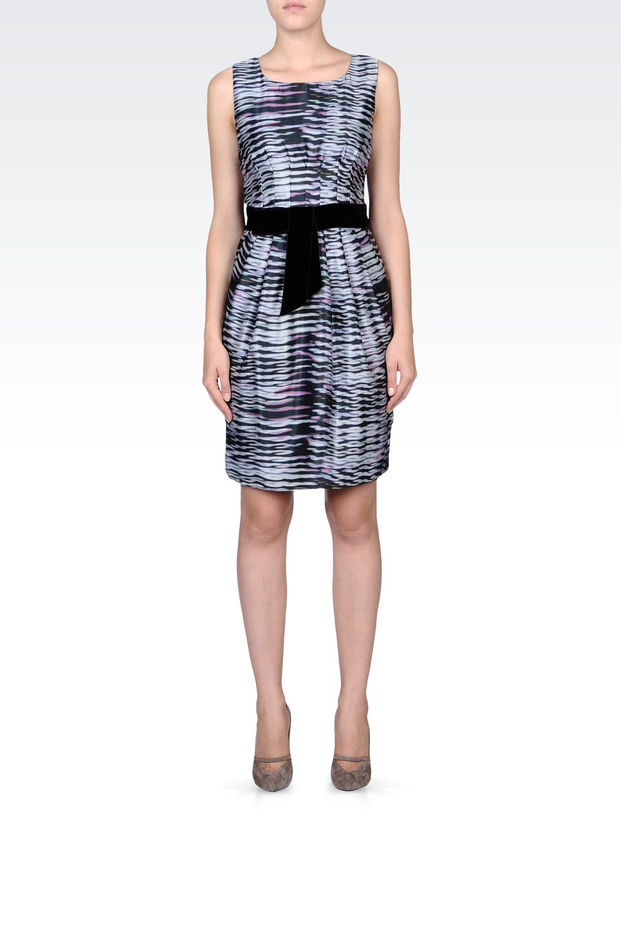 PRINTED SILK DRESS WITH BELT: Short Dresses Women by Armani - 0