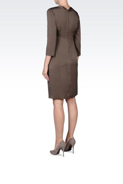 DRAPED STRETCH SILK DRESS: Short Dresses Women by Armani - 3