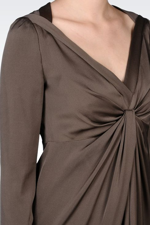 DRAPED STRETCH SILK DRESS: Short Dresses Women by Armani - 4