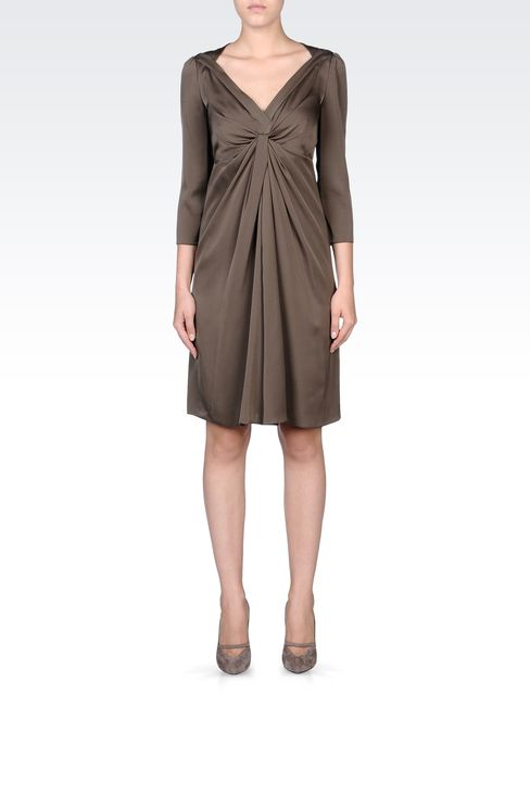 DRAPED STRETCH SILK DRESS: Short Dresses Women by Armani - 1