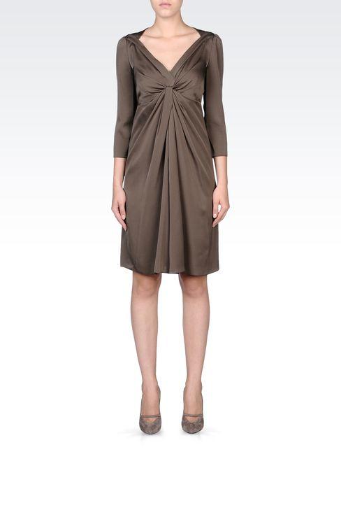 DRAPED STRETCH SILK DRESS: Short Dresses Women by Armani - 1