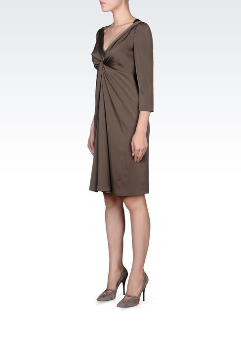 DRAPED STRETCH SILK DRESS: Short Dresses Women by Armani - 2