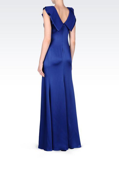LONG V NECK SATIN DRESS: Long dresses Women by Armani - 3
