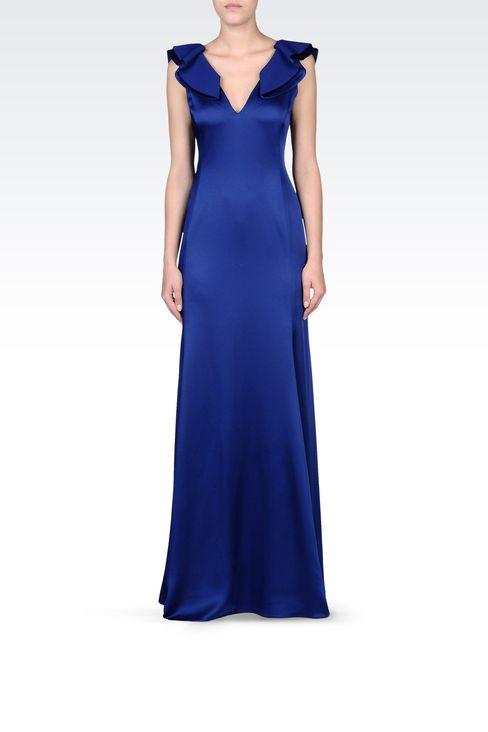 LONG V NECK SATIN DRESS: Long dresses Women by Armani - 1