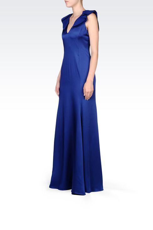 LONG V NECK SATIN DRESS: Long dresses Women by Armani - 2