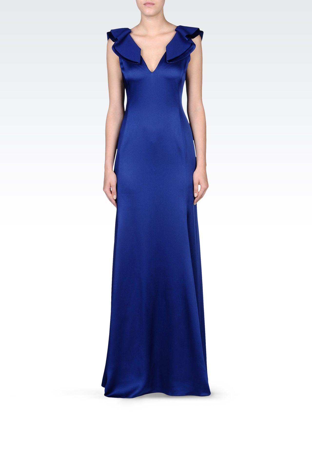 LONG V NECK SATIN DRESS: Long dresses Women by Armani - 0