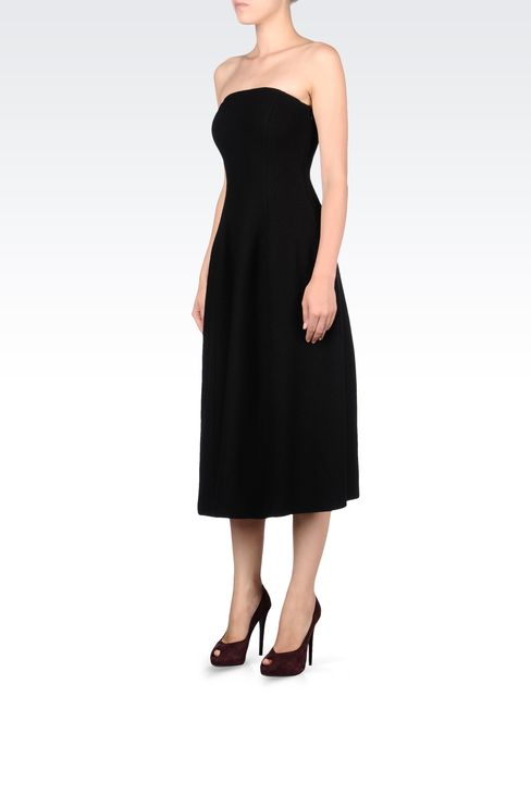 SIXTIES STYLE DRESS IN BOILED WOOL: Strapless dresses Women by Armani - 2