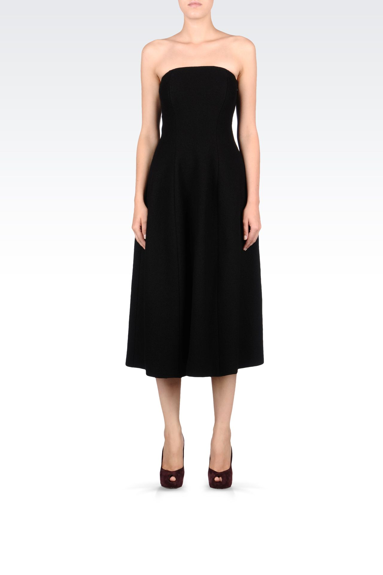 SIXTIES STYLE DRESS IN BOILED WOOL: Strapless dresses Women by Armani - 0