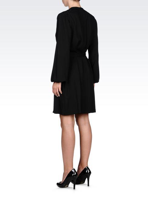 SWAROVSKI-EMBELLISHED CRÊPE DRESS: Short Dresses Women by Armani - 3