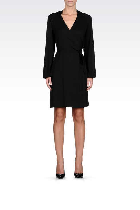 SWAROVSKI-EMBELLISHED CRÊPE DRESS: Short Dresses Women by Armani - 1
