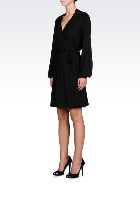 SWAROVSKI-EMBELLISHED CRÊPE DRESS: Short Dresses Women by Armani - 2