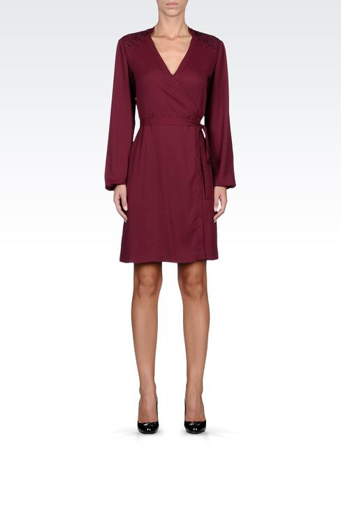 SWAROVSKI-EMBELLISHED CRÊPE DRESS: Short Dresses Women by Armani - 1