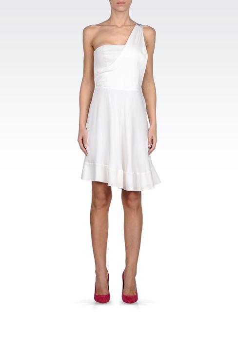 ONE SHOULDER DRESS IN GEORGETTE SILK: One-shoulder dresses Women by Armani - 1