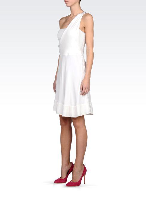 ONE SHOULDER DRESS IN GEORGETTE SILK: One-shoulder dresses Women by Armani - 2