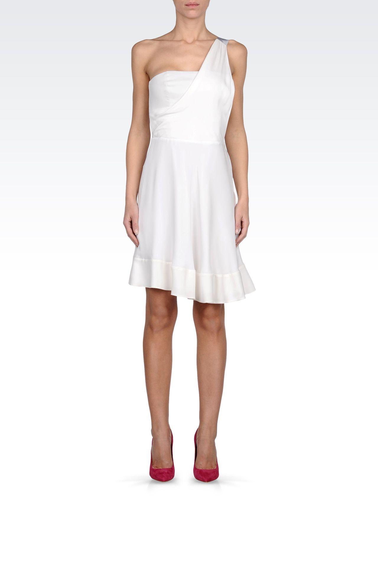 ONE SHOULDER DRESS IN GEORGETTE SILK: One-shoulder dresses Women by Armani - 0
