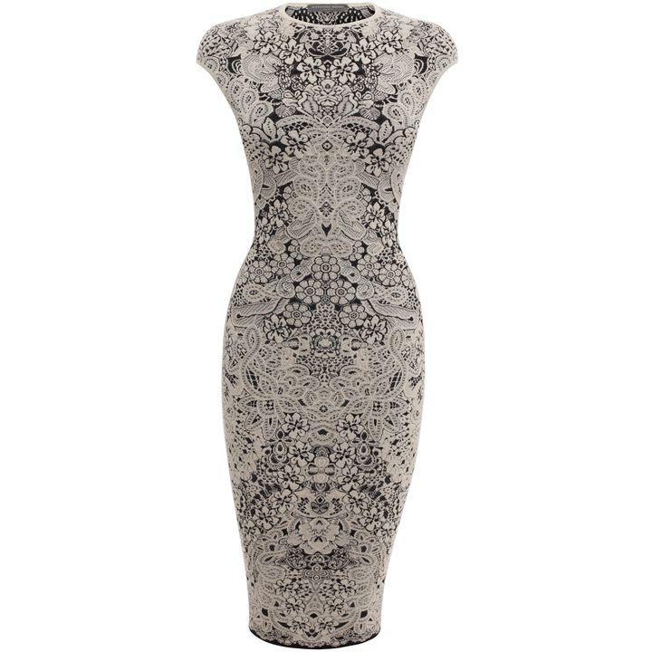 Alexander McQueen, Spine Lace Crochet Jacquard Pencil Dress