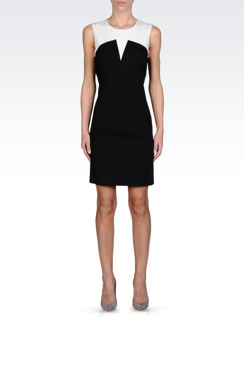 SHEATH DRESS IN TWO-COLOR GABARDINE: Short Dresses Women by Armani - 1