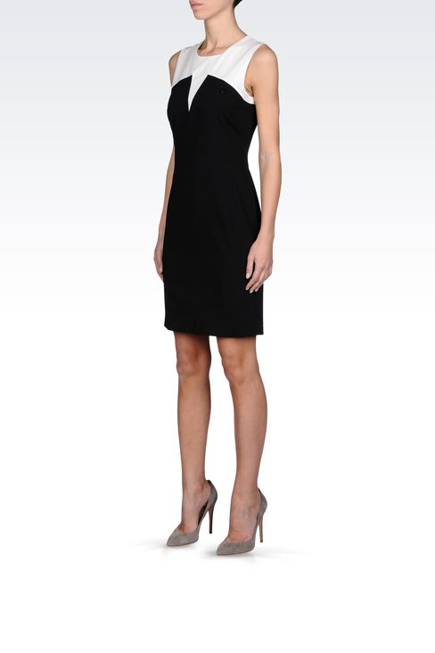SHEATH DRESS IN TWO-COLOR GABARDINE: Short Dresses Women by Armani - 2