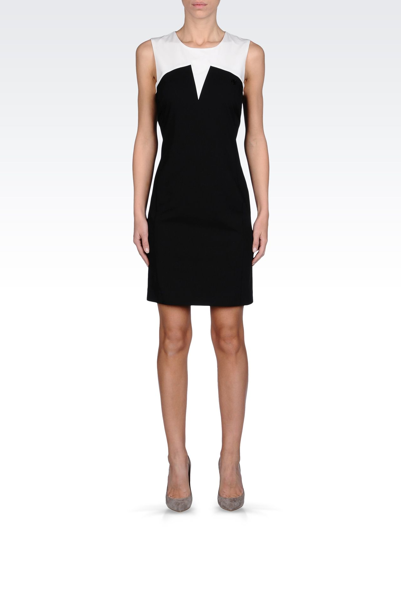 SHEATH DRESS IN TWO-COLOR GABARDINE: Short Dresses Women by Armani - 0