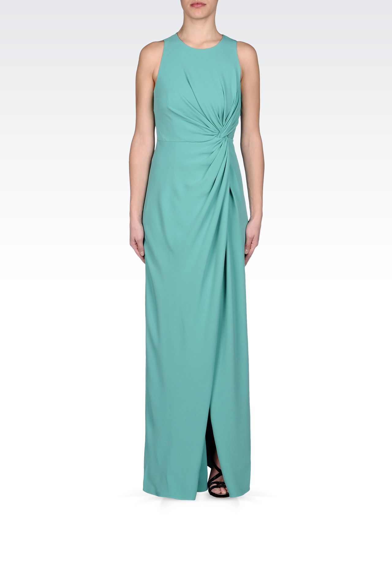 LONG DRESS WITH TWIST DETAIL AT THE WAIST: Long dresses Women by Armani - 0