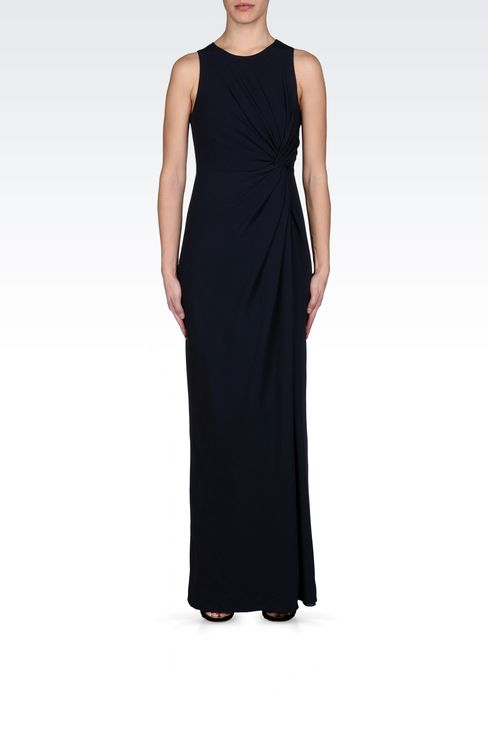 LONG DRESS WITH TWIST DETAIL AT THE WAIST: Long dresses Women by Armani - 1