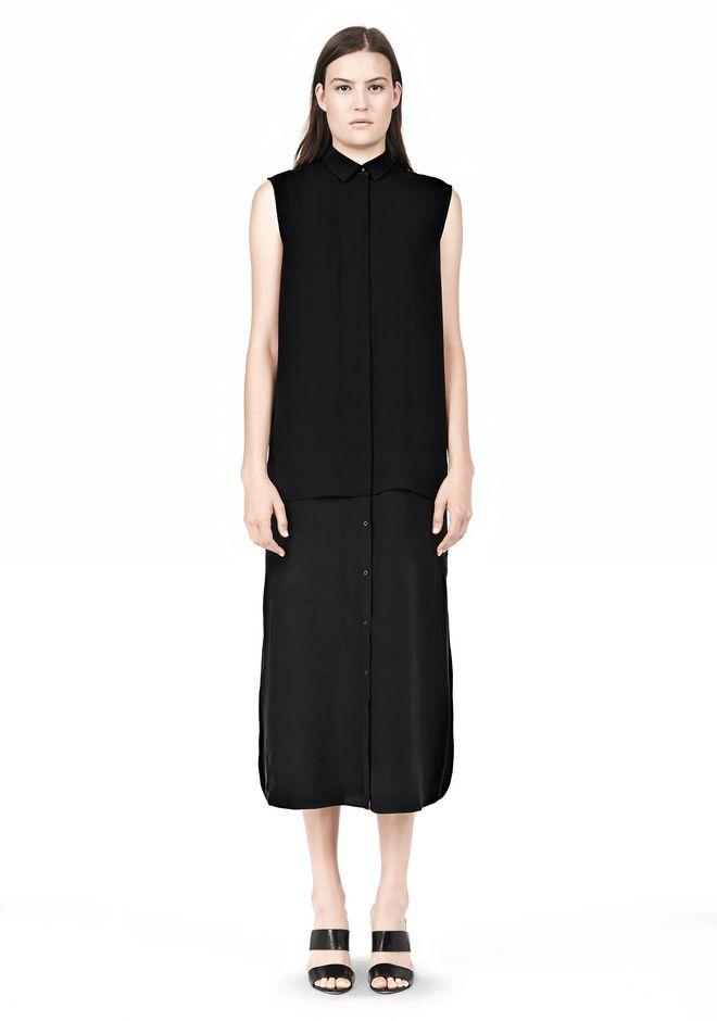 T by ALEXANDER WANG SILK CHFFON OVER CDC SHIRT DRESS