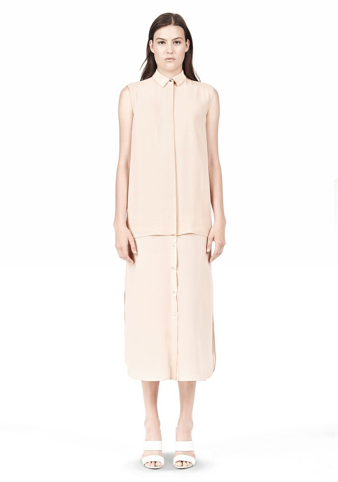 T by ALEXANDER WANG SILK CHFFON OVER CDC SHIRT DRESS