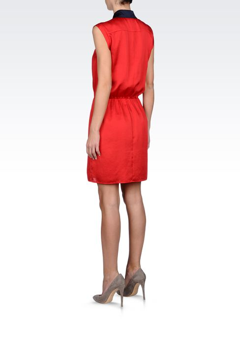 SATIN DRESS WITH JEWEL DETAILS: Short Dresses Women by Armani - 3