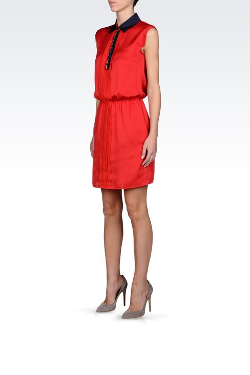 SATIN DRESS WITH JEWEL DETAILS: Short Dresses Women by Armani - 2