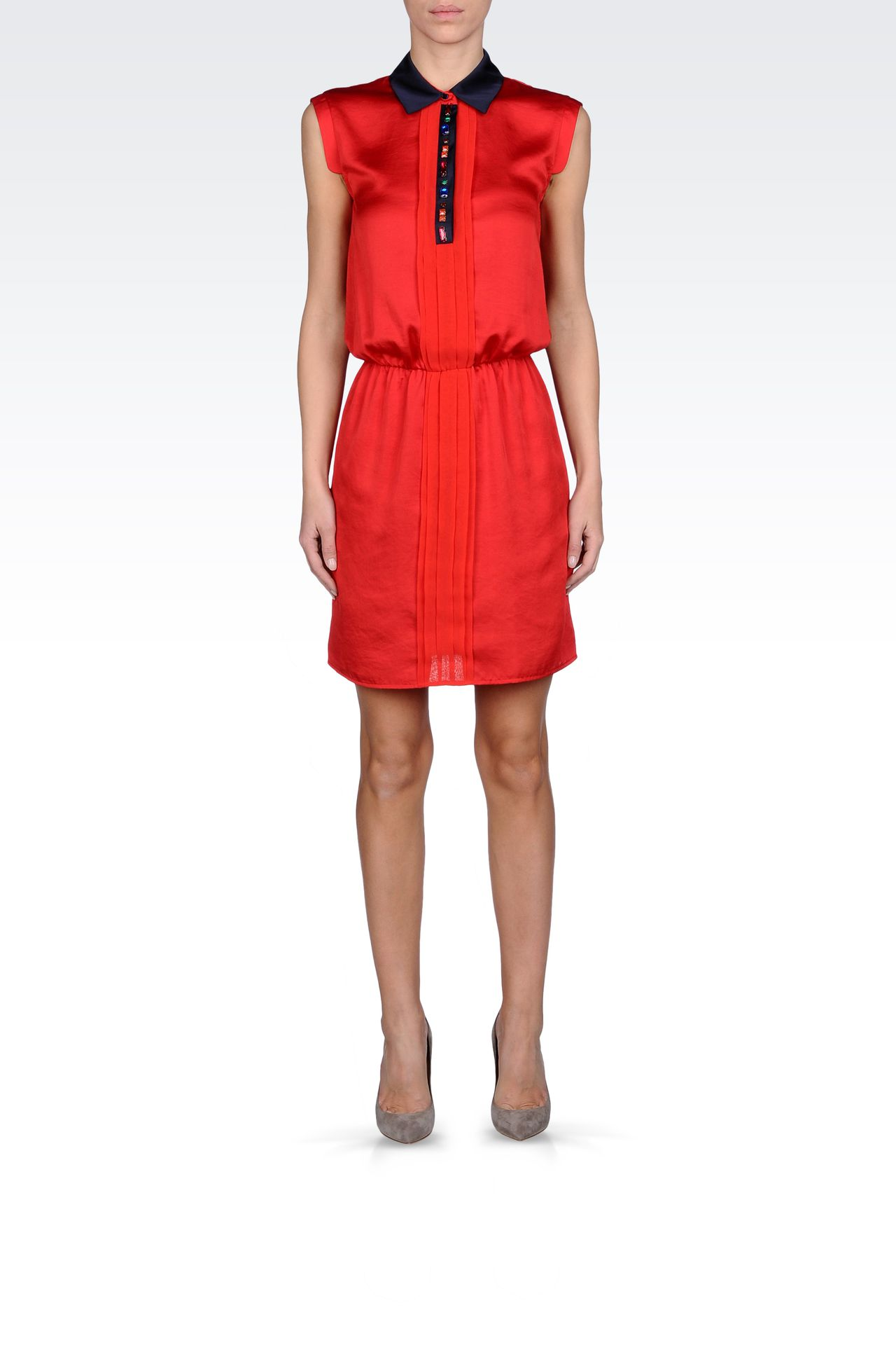SATIN DRESS WITH JEWEL DETAILS: Short Dresses Women by Armani - 0